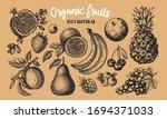 berries and fruit big set. hand ... | Shutterstock .eps vector #1694371033