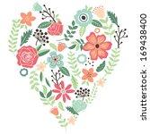vintage flowers wedding heart | Shutterstock .eps vector #169438400