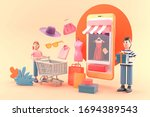 online shop surrounded by... | Shutterstock . vector #1694389543