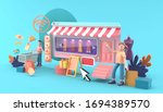 online shop surrounded by...   Shutterstock . vector #1694389570
