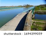 Cross of waterways, bridge of the Midland canal over the Leine River near Hanover, Lower Saxony, Germany