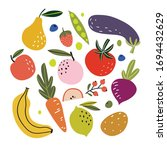 set with hand drawn colorful... | Shutterstock .eps vector #1694432629