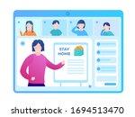 schoolchildren at a webinar...   Shutterstock .eps vector #1694513470