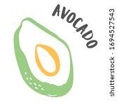 avocado cut in half drawing... | Shutterstock .eps vector #1694527543