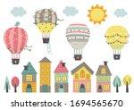 hot air balloon  fly over... | Shutterstock .eps vector #1694565670