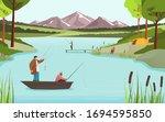 fishermen on lake in beautiful... | Shutterstock .eps vector #1694595850