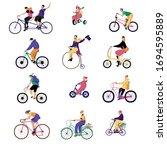 people ride bikes  vector... | Shutterstock .eps vector #1694595889