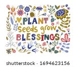 floral color vector lettering... | Shutterstock .eps vector #1694623156