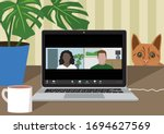 working from home during covid... | Shutterstock .eps vector #1694627569