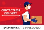 contactless delivery. courier... | Shutterstock .eps vector #1694670400