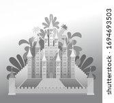 vector grey tropical castle... | Shutterstock .eps vector #1694693503