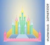 vector colorful vintage castle... | Shutterstock .eps vector #1694693509