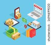 flat 3d web isometric e commerce | Shutterstock .eps vector #1694699020