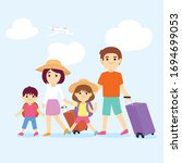 family travel. parents and... | Shutterstock .eps vector #1694699053