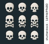 set of skull heads cartoon | Shutterstock .eps vector #1694699680