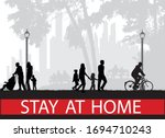 people silhouettes  urban...   Shutterstock .eps vector #1694710243