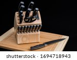 Set Of Kitchen Knives In A...