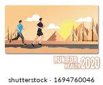running men and women sports... | Shutterstock .eps vector #1694760046