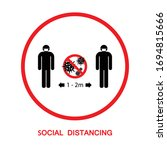 social distancing to protect...   Shutterstock .eps vector #1694815666