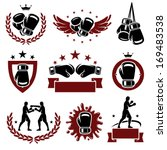boxing labels and icons set.... | Shutterstock .eps vector #169483538