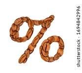 coffee bean font. alphabet...   Shutterstock . vector #1694842996