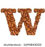 coffee bean font. alphabet...   Shutterstock . vector #1694843020