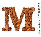 coffee bean font. alphabet... | Shutterstock . vector #1694843053