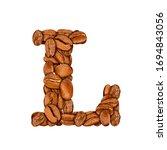 coffee bean font. alphabet... | Shutterstock . vector #1694843056