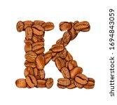 coffee bean font. alphabet... | Shutterstock . vector #1694843059