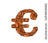 coffee bean font. alphabet... | Shutterstock . vector #1694843083