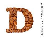 coffee bean font. alphabet... | Shutterstock . vector #1694843089