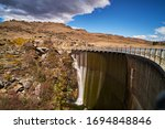 Panoramic View Of A Large Dam...