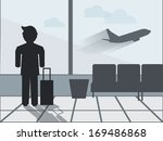 man in airport  waiting for his ...   Shutterstock .eps vector #169486868
