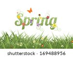 spring word and grass. eps 10... | Shutterstock .eps vector #169488956