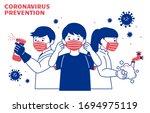 covid 19 precaution promo in... | Shutterstock .eps vector #1694975119