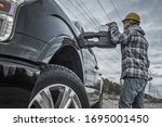 Industrial Worker And Truck....