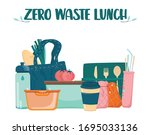 zero waste lunch set. dish  cup ... | Shutterstock .eps vector #1695033136