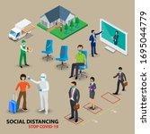 isometric social distancing... | Shutterstock .eps vector #1695044779