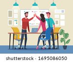 business people giving high... | Shutterstock .eps vector #1695086050