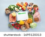 Small photo of Healthy diet eating plan. Meal planning. Slimming and weigh loss concept. Top view. Flat lay