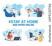 stay at home awareness social... | Shutterstock .eps vector #1695120766