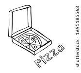 vector image of pizza.  doodle...   Shutterstock .eps vector #1695185563