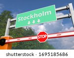 Boom gate near Stockholm, Sweden road sign. Coronavirus or some other disease quarantine related 3D rendering