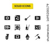 music icons set with upload...