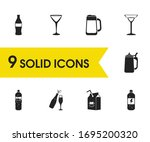 beverages icons set with dairy  ...
