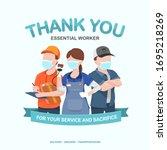 appreciation for essential... | Shutterstock .eps vector #1695218269