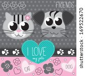 cat and dog vector illustration | Shutterstock .eps vector #169522670