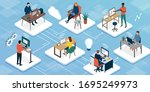 teleworking and business... | Shutterstock .eps vector #1695249973