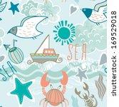 vector sea seamless pattern... | Shutterstock .eps vector #169529018