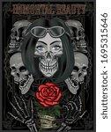black and white skull girl with ... | Shutterstock .eps vector #1695315646